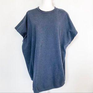 COS Boxy Draped Short Sleeve Knit Top Blue Size M